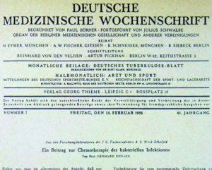 Первая публикация Домагка о пронтосиле 15 февраля 1935 года